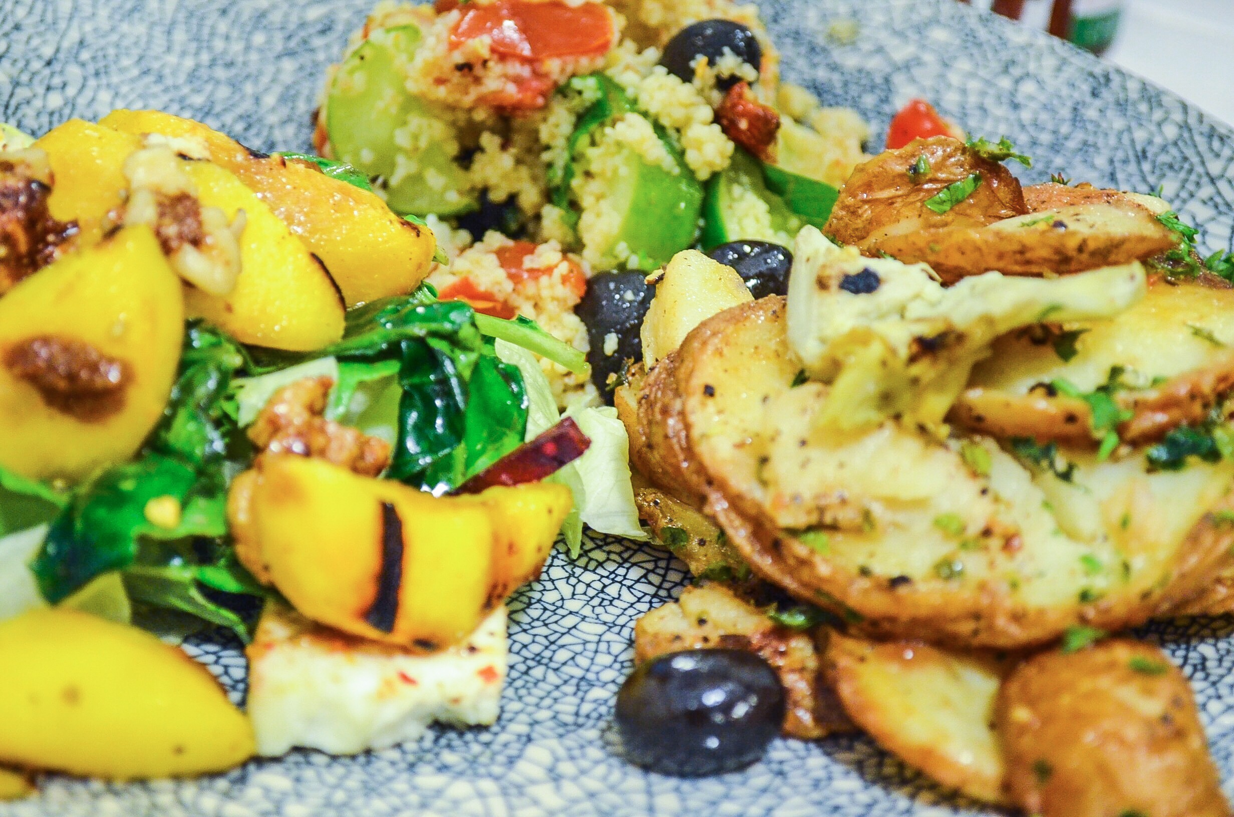 Pretty salads on pretty plates at The Pantry by The Polo Lounge (Mall One)
