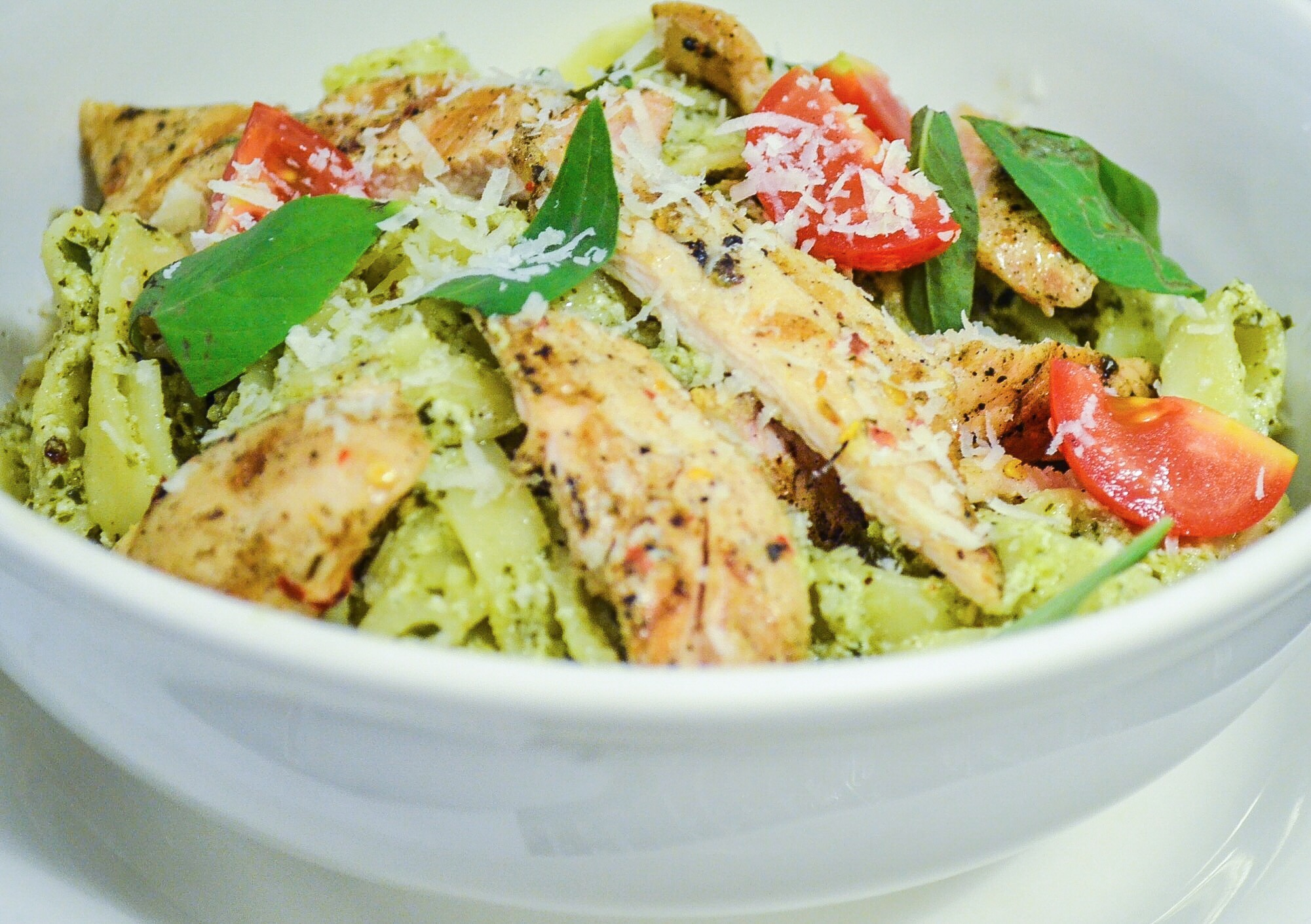 Fresh tasting Pesto Fettuccine with grilled chicken at The Pantry by The Polo Lounge's Mall One location